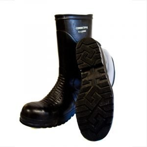 Thick heavy black high boots.