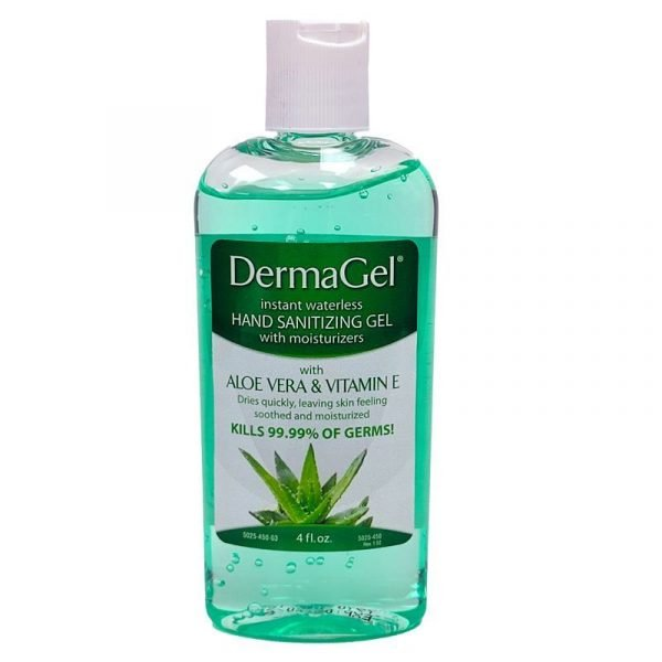 Green clear sanitizing liquid in a capped bottle.