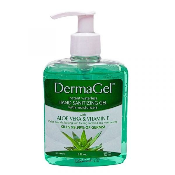 Green clear sanitizing liquid in a pump bottle.